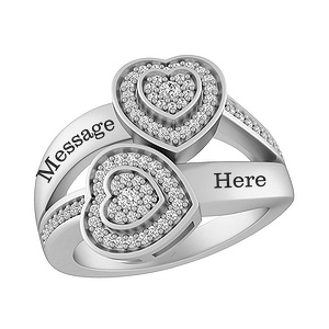 this lovely promise ring for her features two hearts decorated with brilliant round diamonds that frame the center diamond in each heart - Jared Wedding Rings For Her