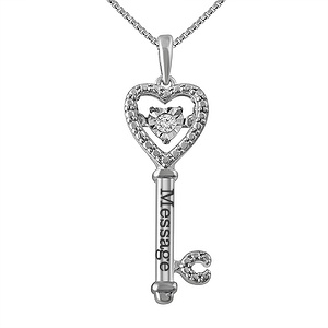 b38e861f5 From the Diamonds in Rhythm® collection, this key necklace features a round  diamond that glitters with every move. This necklace includes a box chain  that ...