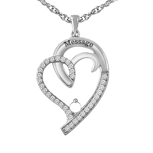 0751a8b564f0 This graceful and elegant family heart pendant accented with white sapphires  features the colored stones of your choice. This necklace includes a rope  chain ...