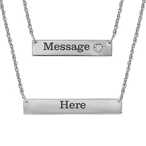 059265687 Celebrate your love for each other with this stylish double bar couple's  necklace, featuring a heart with a round diamond accent on the top bar.