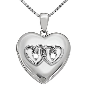 5c14bc6198 This heart locket features entwined hearts to symbolize your love for each  other. Personalize with two round stones of your choice and engrave the  back with ...